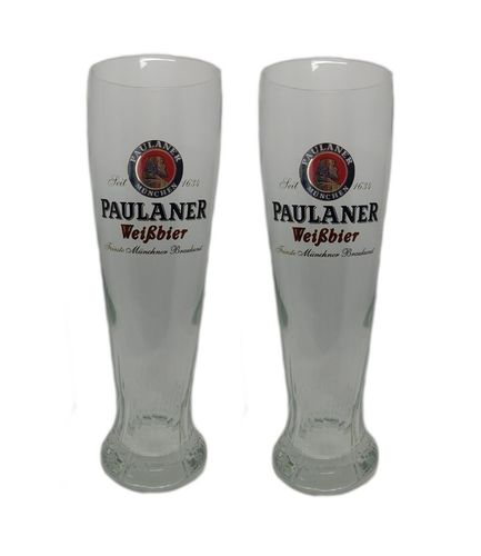 "Paulaner - set of 2 - German Beer Glasses 0.5 Liter - ""Weissbier"" - NEW"