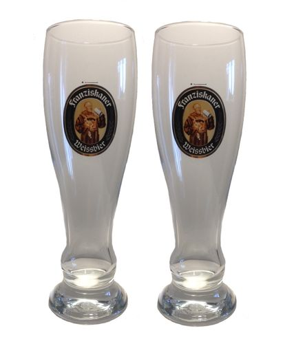 "Franziskaner - set of 2 - German Beer Glasses 0.3 Liter - ""Weissbier"" - NEW"