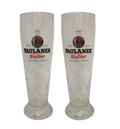 "Paulaner - set of 2 - German Beer Glasses 0.3 Liter - ""Weissbier"" - NEW"