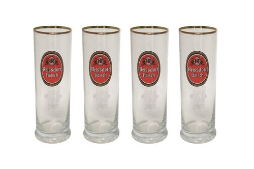 Reissdorf Kolsch - set of 4 - German Beer Glasses 0.2 Liter - *Stange* - NEW