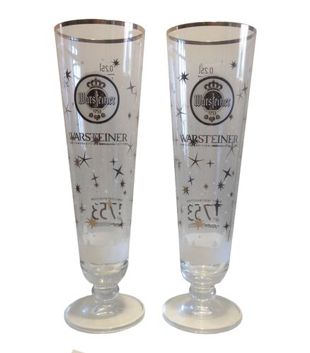 "Warsteiner - set of 2 - German Beer Glasses 0.25 Liter ""Winter Edition"" - LIMITED! - NEW"