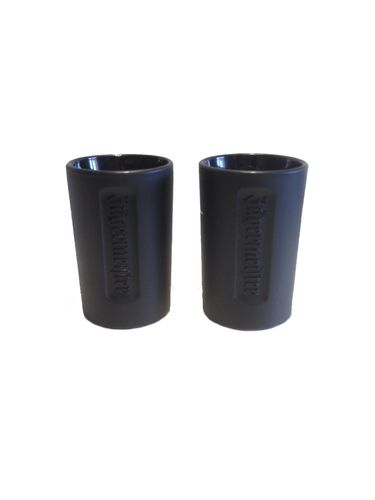Jagermeister - set of 2 - shot glasses - 2cl - black glass/ relief logo - LIMITED! - NEW