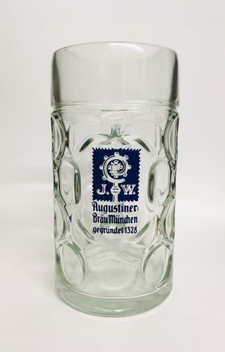 "Augustiner Brau - Bavarian / German Beer Glass 1.0 Liter Stein - ""Masskrug"" - NEW"