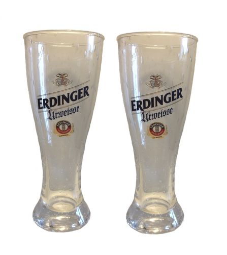 "Erdinger - set of 2 - Bavarian / German Beer Glasses 0.5 Liter - ""Urweisse"" - NEW"