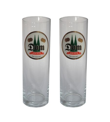 Dom Kolsch - set of 2 - German Beer Glasses 0.2 Liter - *Stange* - NEW