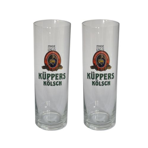 Kuppers Kolsch - set of 2 - German Beer Glasses 0.25 Liter - *Stange* - NEW