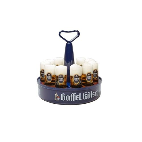 "Gaffel Kolsch - Tray ""Kranz"" with 11 Beer Glasses 0.2 Liter ""Stange"" - NEW"