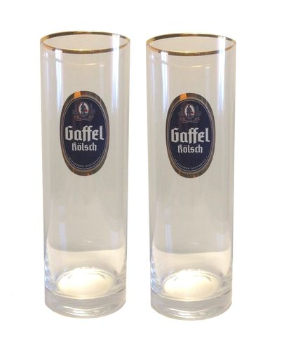 Gaffel Kolsch - set of 2 - German Beer Glasses 0.2 Liter - *Stange* - NEW
