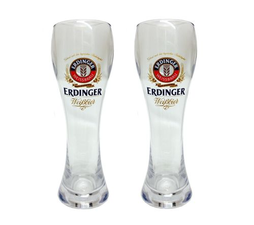 "Erdinger - set of 2 - German Beer Glasses 0.5 Liter (made of plastic) - ""Weissbier"" - NEW"