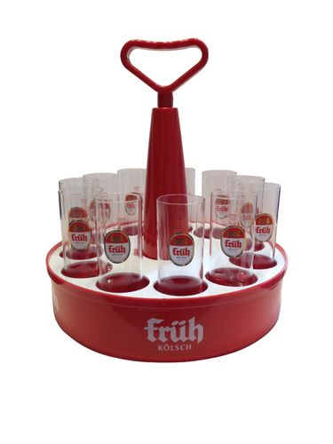 "Fruh Kolsch - Tray ""Kranz"" with 11 Beer Glasses 0.2 Liter ""Stange"" - NEW"
