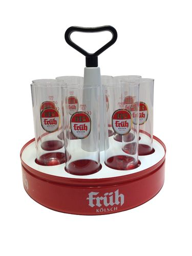 "Fruh Kolsch - Tray ""Kranz"" with 8 Beer Glasses 0.2 Liter ""Stange"" - NEW"
