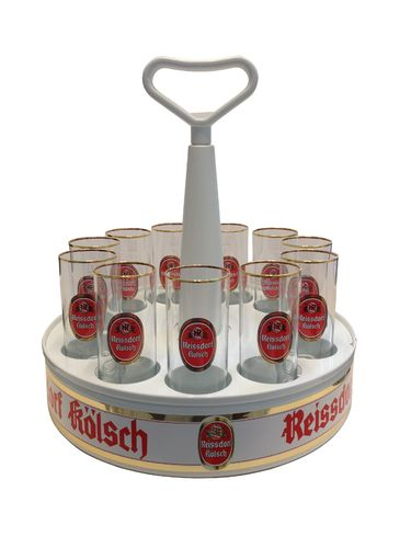 "Reissdorf Kolsch - Tray ""Kranz"" with 11 Beer Glasses 0.2 Liter ""Stange"" - NEW"