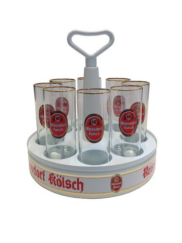 "Reissdorf Kolsch - Tray ""Kranz"" with 8 Beer Glasses 0.2 Liter ""Stange"" - NEW"