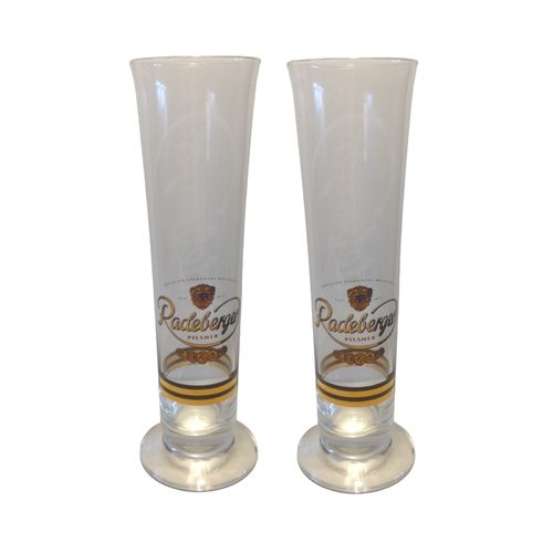 "Radeberger - set of 2 - German Beer Glasses 0.3 Liter - ""Scene"" - NEW"