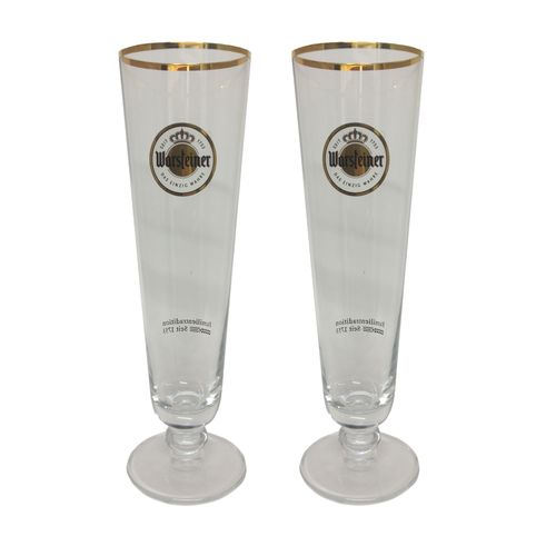 "Warsteiner - set of 2 - German Beer Glasses 0.2 Liter - ""Tulip 1753"" - NEW"