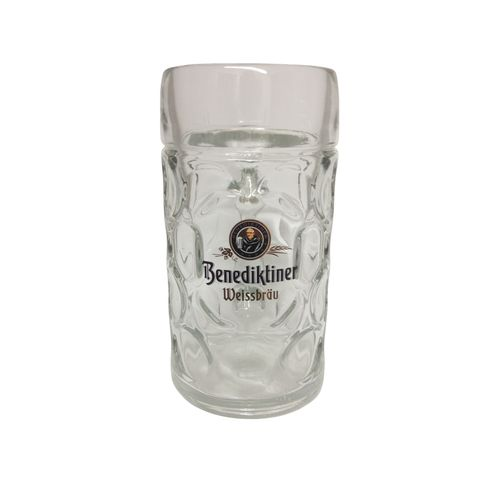 "Benediktiner - Bavarian / German Beer Glass 1.0 Liter Stein - Masskrug - ""Oktoberfest"" - NEW"