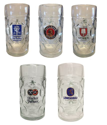 Set of 5 - Paulaner / Augustiner / Spaten / Hacker Pschorr / Lowenbrau - 1 Liter Masskrug - NEW