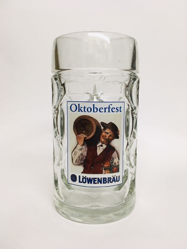 "Lowenbrau - German / Bavarian Beer Glass / Stein / Mug 0.5 Liter ""Oktoberfest"" - NEW"