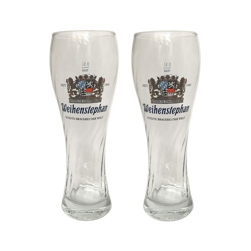 "Weihenstephan - set of 2 - German / Bavarian  Beer Glasses 0.5 Liter - ""Weissbier"" - NEW"