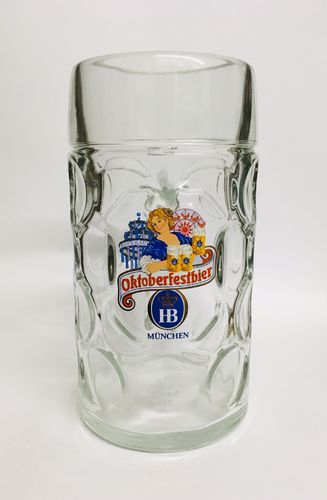 "Hofbrauhaus - Bavarian / German Beer Glass 1.0 Liter Stein - Masskrug - ""Oktoberfestbier"" - NEW"