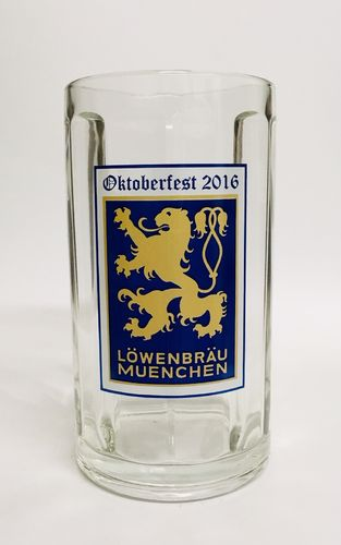 "Lowenbrau - German / Bavarian Beer Glass / Stein / Mug 0.5 Liter ""Oktoberfest 2016"" - NEW"